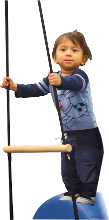 child holding a rope ladder